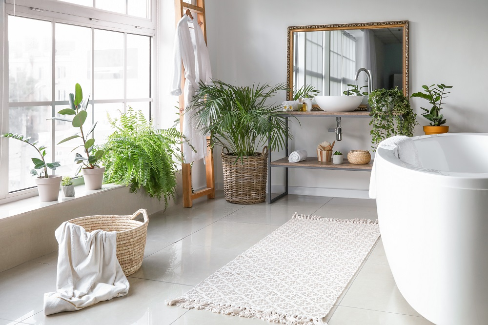 In bathrooms, carefully placed plants can liven up the dull, hard surfaces.