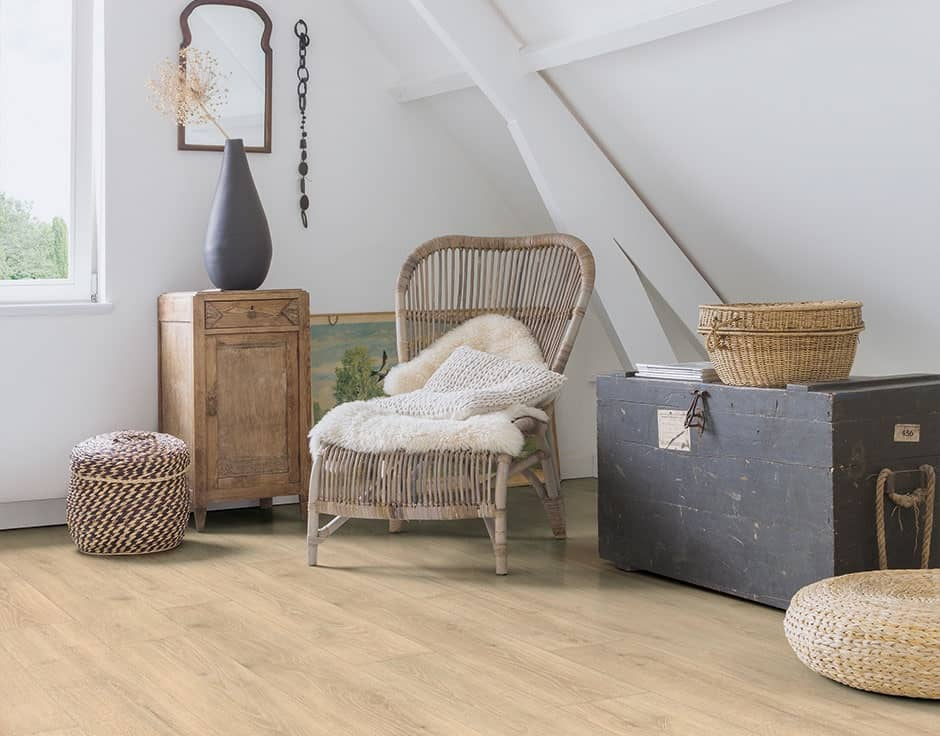 Laminate flooring mimics real hardwood