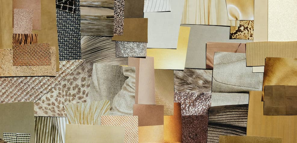 Using material samples and textures to create the prefect mood board.