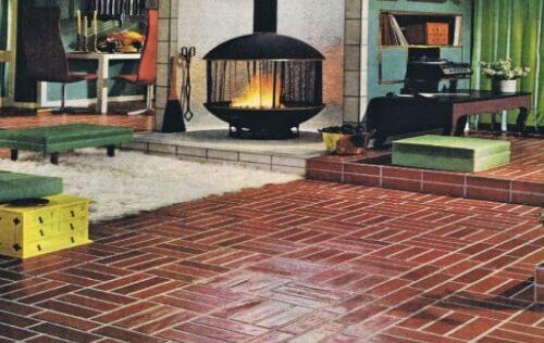 Creating a faux brick flooring as a popular DIY project.