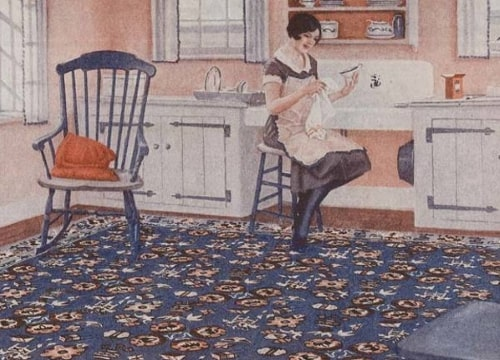 Vintage vinyl floor cloths lay flat. They are durable, flexible, and easy to clean.