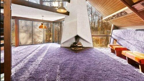 Wall carpeting provides warmth and comfort.